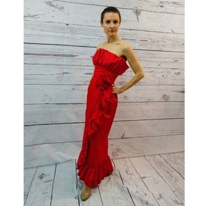 80s red strapless satin ruffle gown